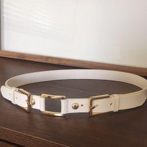 ANTONIO MELANI Genuine Leather White Gold Belt Sm